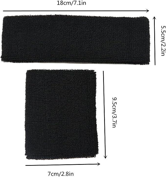 Meta-U Wholesale 5 Sets of Black Thicken Cotton Sports Sweatbands-1Set Including 1Pce of Headband /& 2Pcs of Wristbands