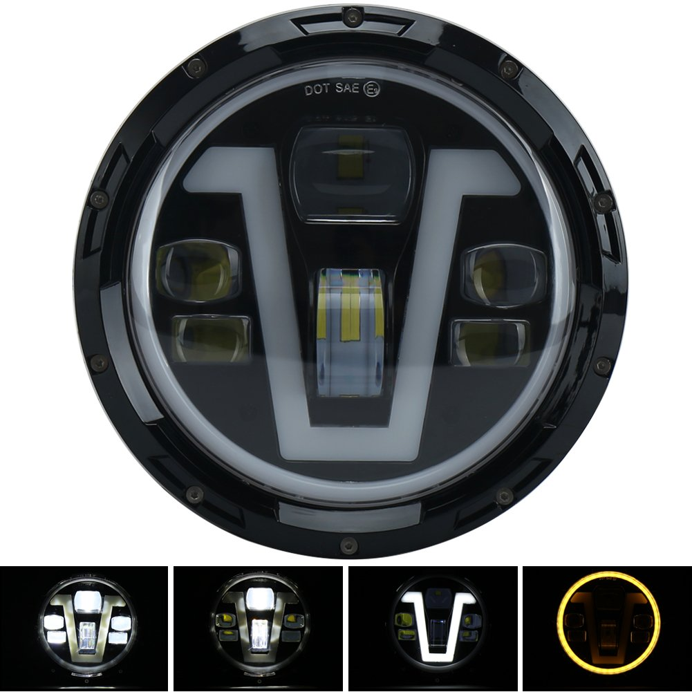 amazon com pxpart 7 inch harley headlight led daymaker with v type