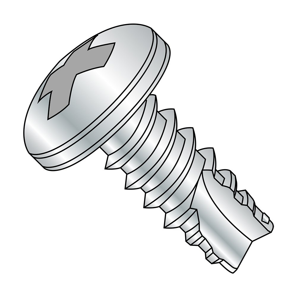 Pack of 100 7//16 Length Phillips Drive #4-24 Thread Size Steel Thread Cutting Screw Type 25 Pan Head Zinc Plated Finish
