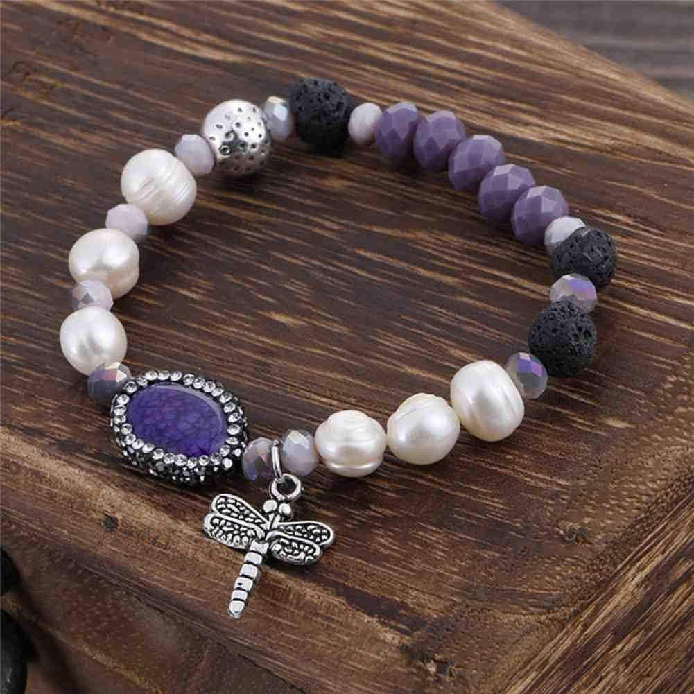 CMAO Bohemio Perlas de Cristal de Color Perlas de Imitación Pulsera Libélula Colgante de Joyería para Las Mujeres Regalo