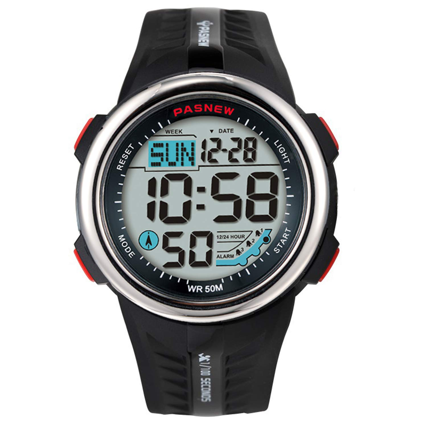 Teens Watches for Boys 100M Water-Resistant Dual Time 3 Alarms Digital Outdoor Sport Gifts for Mens Young 442br by PASNEW