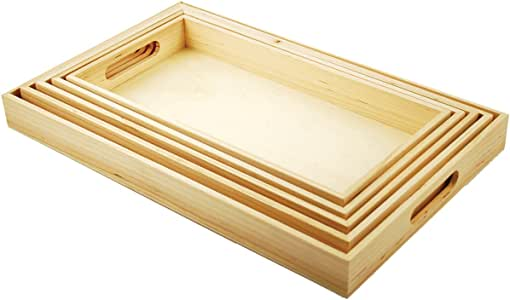 Multicraft Imports WS410 5-Piece Paintable Wooden Trays with Handles, 6-5/8 by 13-Inch to 10-1/8 by 16-1/8-Inch