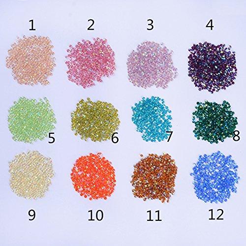 300Pcs/bag 1.2mm Shinning Micro Rhinestone Sharp Bottom Micro Colorful Diamonds Mini 3D Nail Art Rhinestone (Bali Diamond Bead)
