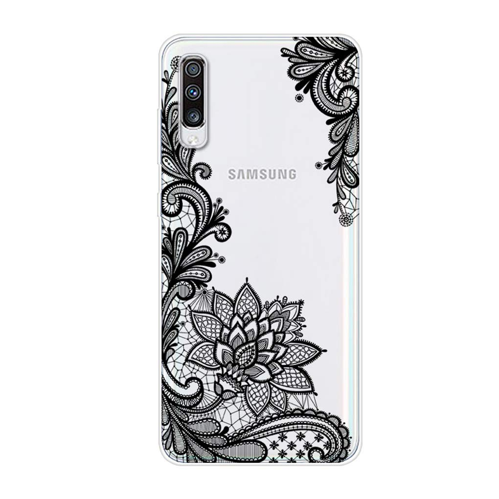 Karomenic kompatibel mit Samsung Galaxy A70 Silikon H/ülle Kreative Cartoon Transparent Handyh/ülle Durchsichtig Schutzh/ülle Crystal Clear Weiche Soft TPU Tasche Bumper Case Etui,Flamingo