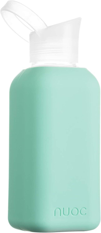 NUOC - Botella de Agua Cristal | Botella de Agua Reutilizable | Botella de Cristal con Funda de Silicona | Bebidas Frías y Calientes |Sin BPA | Ecológica y Ligera | Deporte, Oficina, Yoga, Gimnasio