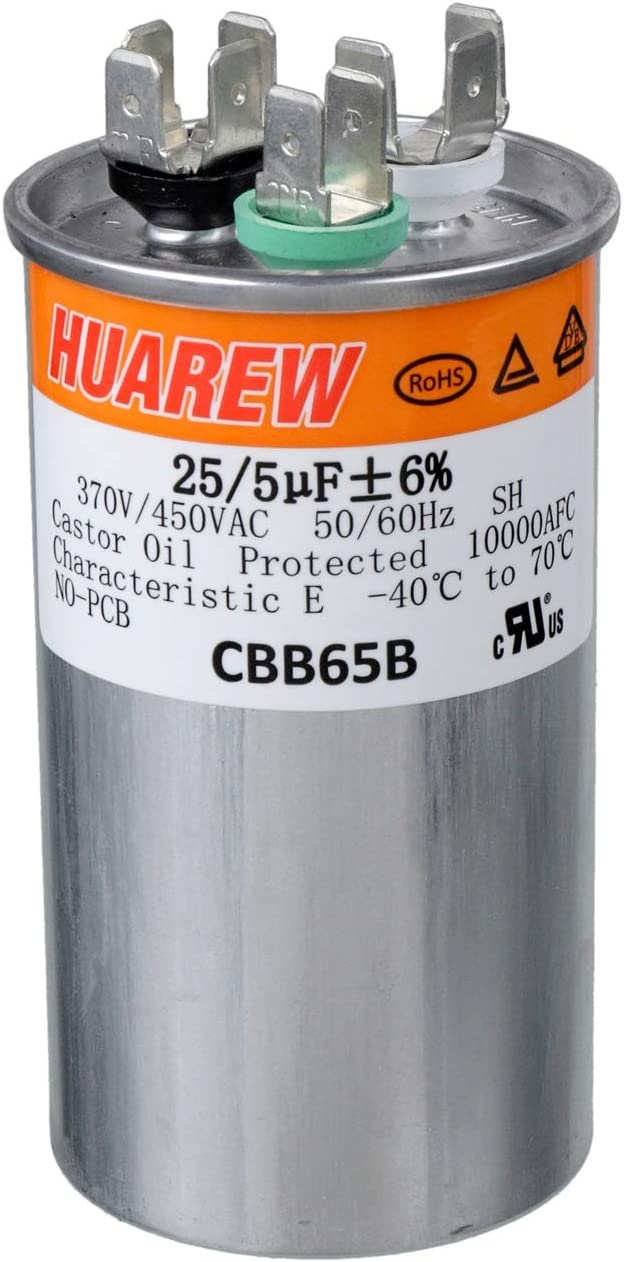 HUAREW 25+5 uF ±6% 35/3 MFD 370/450 VAC CBB65 Dual Run Start Round Capacitor for Condenser Straight Cool or Heat Pump Air Conditioner or AC Motor and Fan Starting