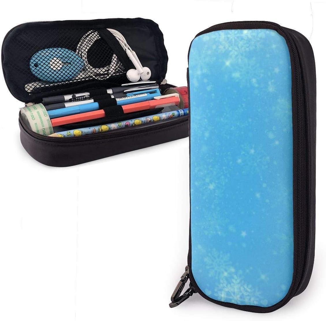 Estuche para lápices con diseño de copos de nieve, color azul y blanco, para niños y niñas: Amazon.es: Oficina y papelería