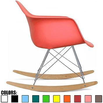 2xhome   Pink   Eames Style Molded Modern Plastic Armchair Rocker Chrome  Steel Eiffel Base Wood