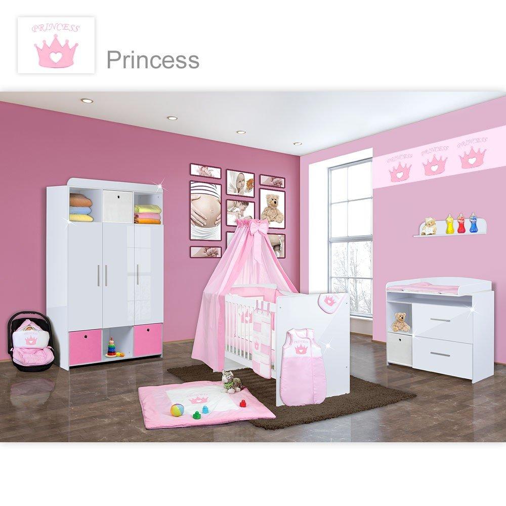 Babyzimmer weiß hochglanz  Babyzimmer Mexx in Weiss Hochglanz 11 tlg. mit 3 türigem Kl. + ...