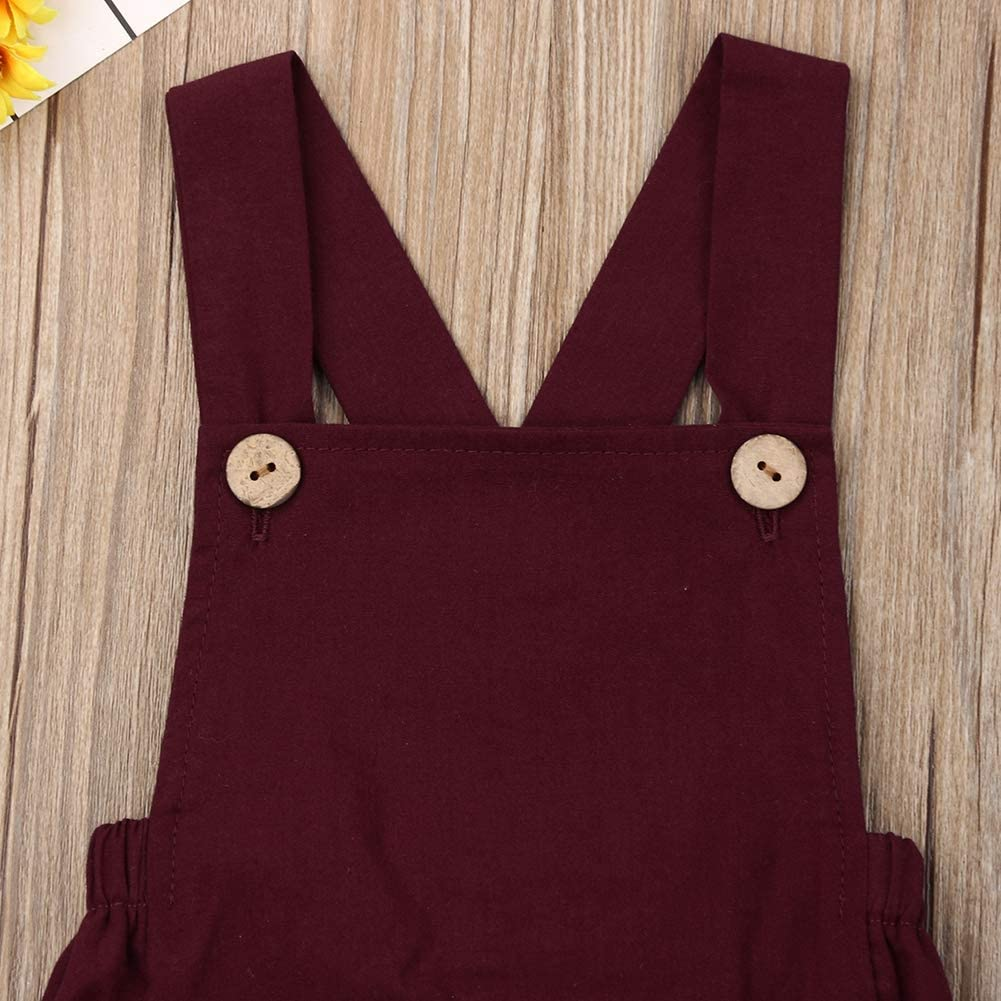 Xmasgifts Newborn Infant Baby Girl Boy Summer Romper Solid Color Sleeveless Jumpsuit Backless Overalls Cotton Outfits
