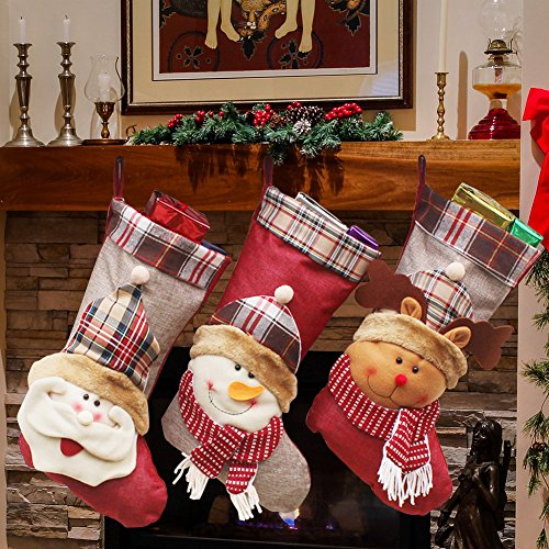 YAMUDA 3 Pcs Set Big size Classic Christmas Stockings Christmas Stocking XMAS Gift (Countdown Christmas 46 Days)