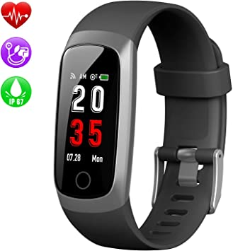 kilponen Pulsera de Actividad Inteligente, Reloj Inteligente Hombre Mujer con Pulsómetro y Presión Arterial Reloj Deportivo Podómetro GPS Calorías Impermeable IP67 Cronómetro Smartwatch para Teléfono: Amazon.es: Deportes y aire libre