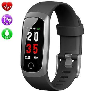 Kilponen Montre Connectée Bracelet Connecté Podomètre Smartwatch Femme Homme Enfant Fitness Tracker dActivité Cardio