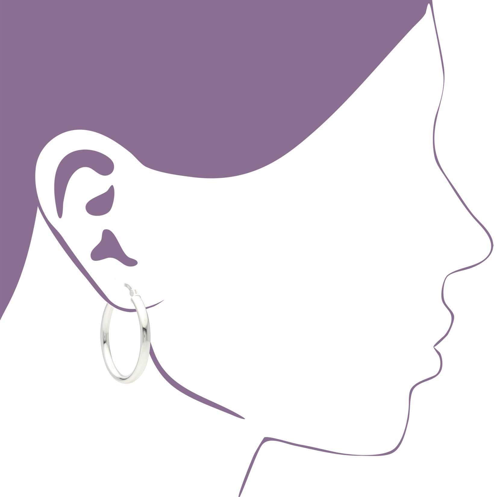 Sterling Silver Hoop Earrings - 3mm x 30mm Click-Top Tube Hoop by KEZEF Creations (Image #5)