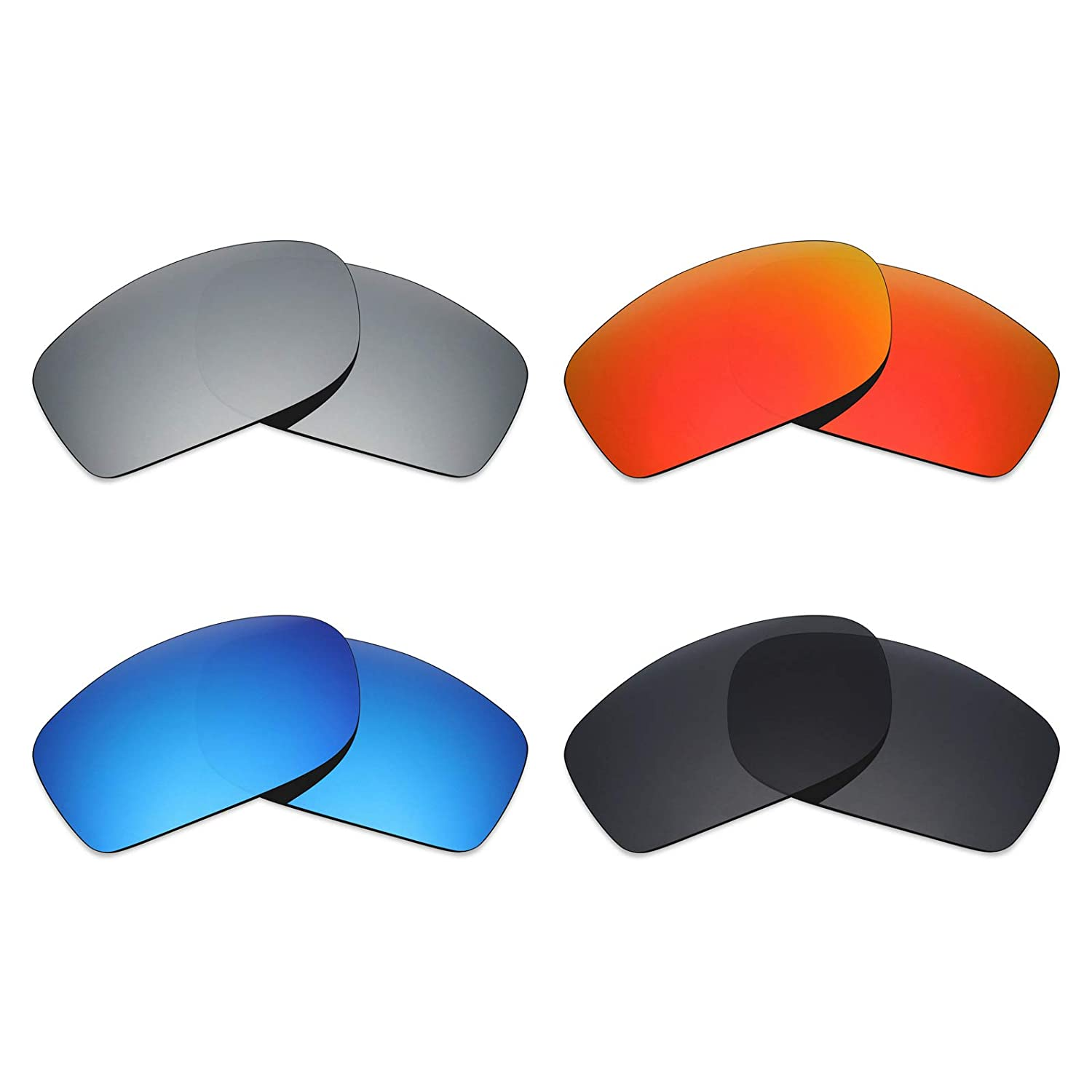 04139112994 Amazon.com  Mryok 4 Pair Polarized Replacement Lenses for Oakley Fives  Squared Sunglass - Stealth Black Fire Red Ice Blue Silver Titanium  Sports    Outdoors