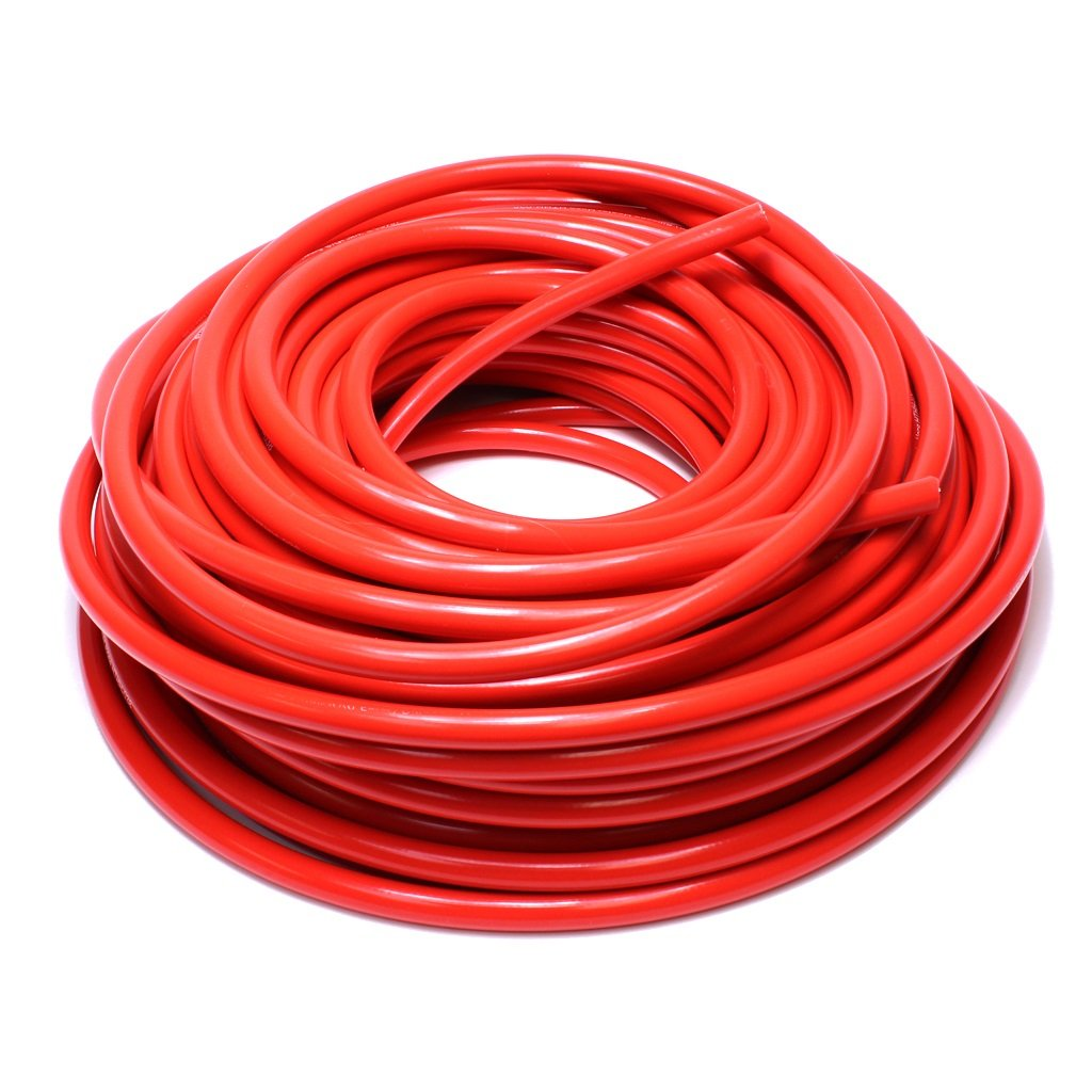 HPS 3/4'' ID Red high temp reinforced silicone heater hose 25 feet roll, Max Working Pressure 70 psi, Max Temperature Rating: 350F, Bend Radius: 3''