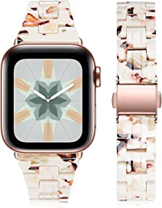 Joyozy Compatible with Apple Watch Bands 38mm 40mm Fashion Slim Resin Band For Apple Watch Series 6 5 4 3 2 1 SE (Nougat White, 38MM 40MM)