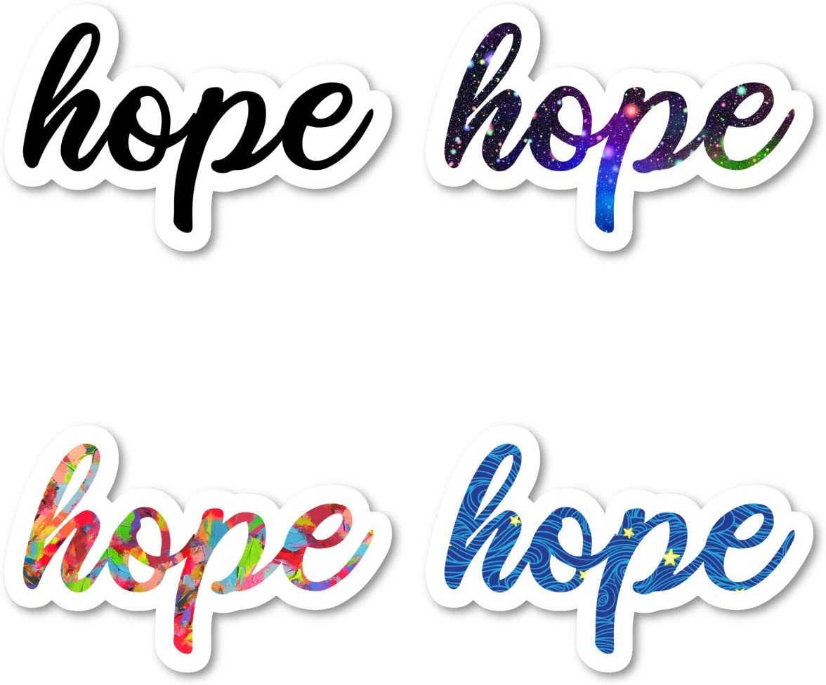 Hope Sticker Pack Inspirational Quotes Stickers - 4 Pack - Laptop Stickers - for Laptop, Phone, Tablet Vinyl Decal Sticker (4 Pack) S211243