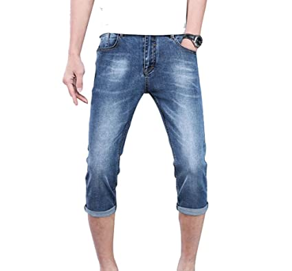 Yuncai Herren Jeans Shorts Kurze Denim Hose Mit Destroyed-Optik Aus Stretch- Material Slim 6f2e6ea114