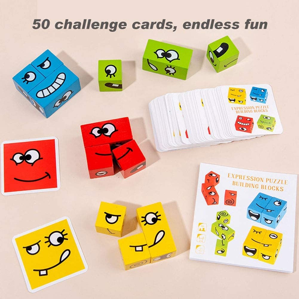 Face-Changing Blocks Colorful Cube Building Blocks Magic Cubes Interaction Toy Emoji Matching Game Toys Logical Thinking Training Brain Teasers Wood Jigsaw Gift for Kids Preschool
