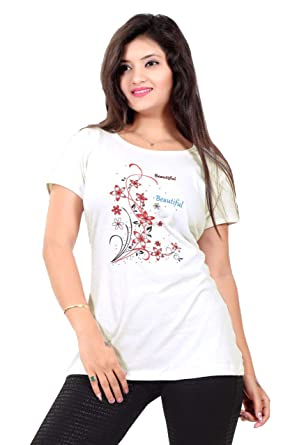 99e6331e8 Daksh Fashions Cotton Lycra White Printed Women's T-Shirt: Amazon.in ...