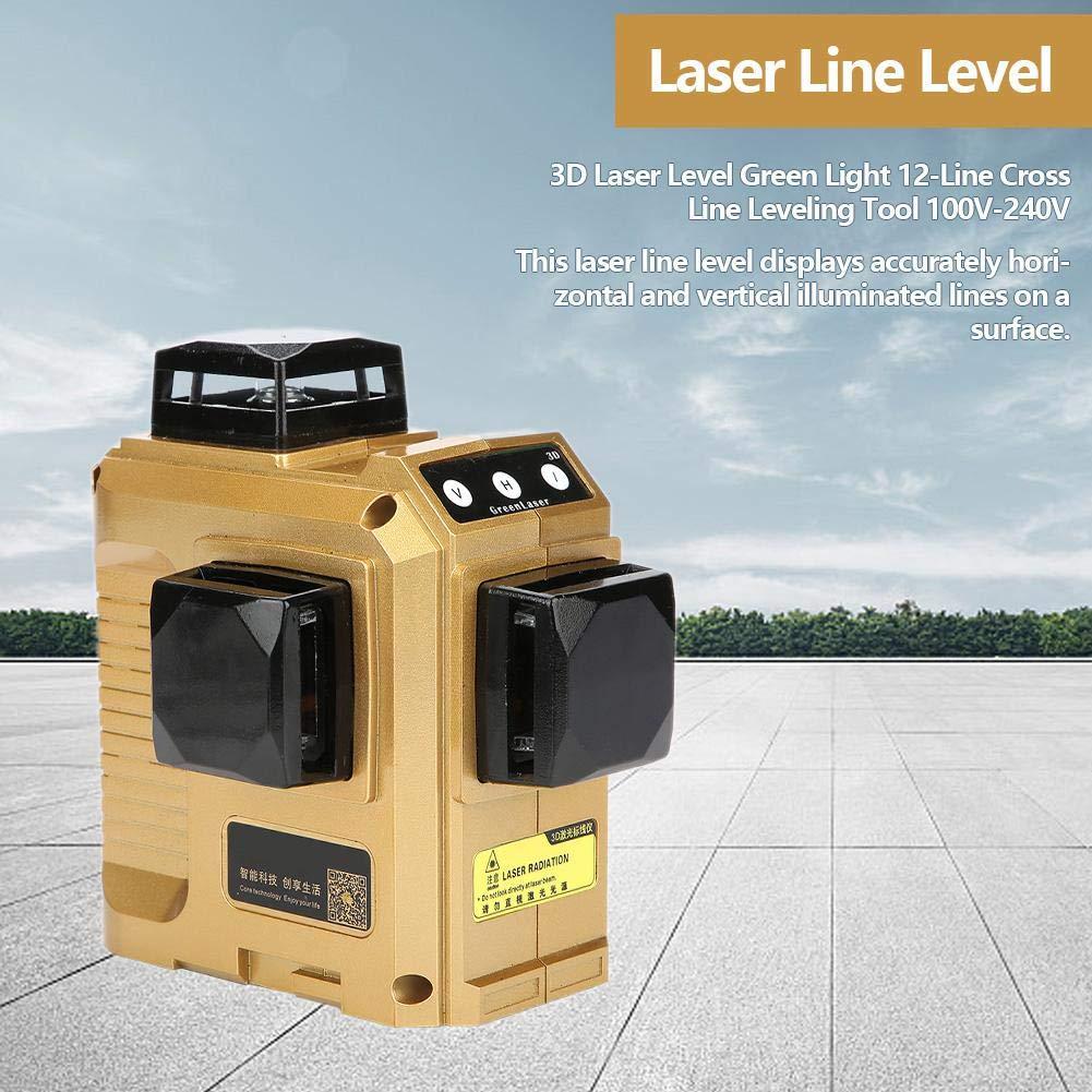 Akozon 12 Linee Livello Laser Level Autolivellante Professionale Copertura 50 M a 3 Livella Laser 360 Beam Verde Controllo Remoto con Telecomando 220 V