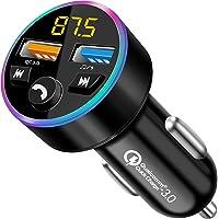 Transmisor FM Bluetooth para Coche, Transmisor FM Bluetooth 5.0, Manos Libres Inalámbrico Reproductor Música Coche…