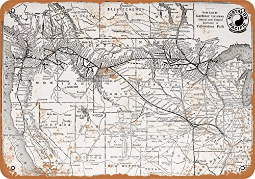 Wall-Color 9 x 12 Metal Sign - 1912 Northern Pacific Railroad Route to Yellowstone - Vintage Look Reproduction