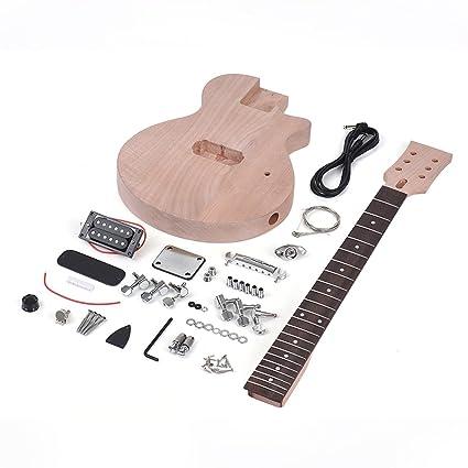 ammoon Guitarra Eléctrica DIY Niños Estilo LP Inconcluso Kit Cuerpo y Cuello de Caoba Diapasón de