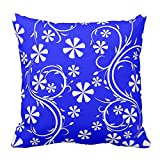 Floral Design Bright Blue and White Flower Pattern Cushion Cover Throw Pillow Case Square For Living Dinning Room Decorative, 20X20 Inch
