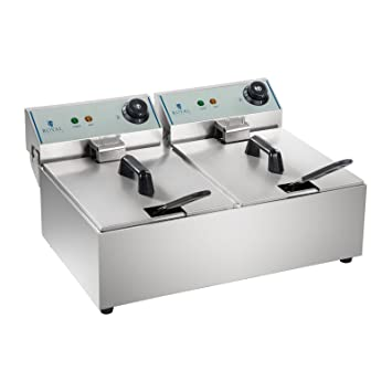 Royal Catering Freidora Doble Industrial Eléctrica Profesional RCEF-10DY-ECO (2 x 10 Litros, 2 x 3.200 W, 230 V, Termostato, ECO, Acero Inoxidable)