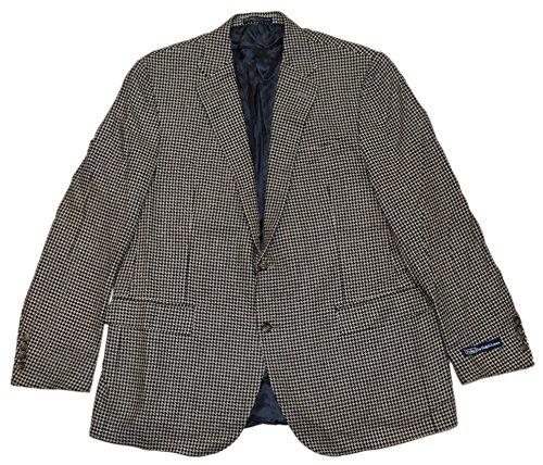 Polo Ralph Lauren Mens Houndstooth Blazer Jacket Silk Black Cream Italy 46R (Blazer Cream Silk)