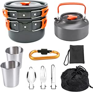 Jasendooer Outdoor Cookware Set Camping Cooker Set Camping Equipment Mountaineering Aluminum Cooker BBQ Tableware Camping Pot Set Suitable for 2~3 People