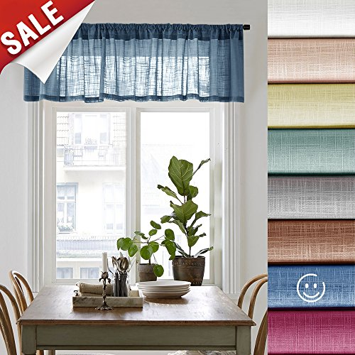Sheer Curtain Valances for Bedroom 16 inches Long Rod Pocket Linen Textured Window Valance for Kitchen, 1 Panel, Navy Blue
