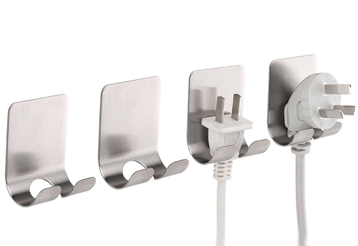 SYOOY 4 PCS Self Adhesive Shaving Wall Hooks Stainless Steel Power Plug Line Hooks Multi-Purpose Sticking Hooks