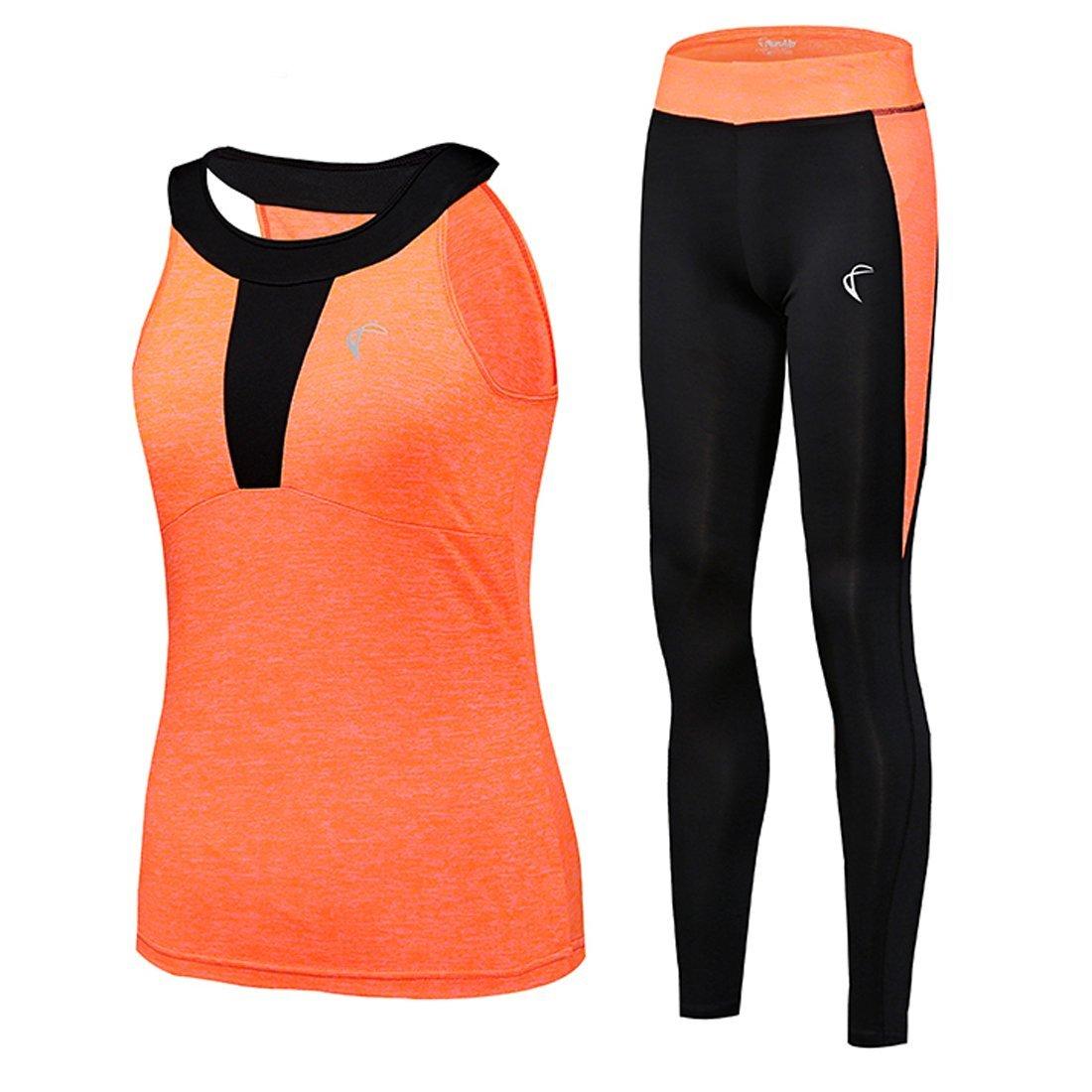 shelcupトラックスーツの女性ヨガワークアウトFitness実行アスレチックスポーツジムタンクトップパンツ2ピースセット、4色選択 Medium Orange top, black pant B079GSQT9H