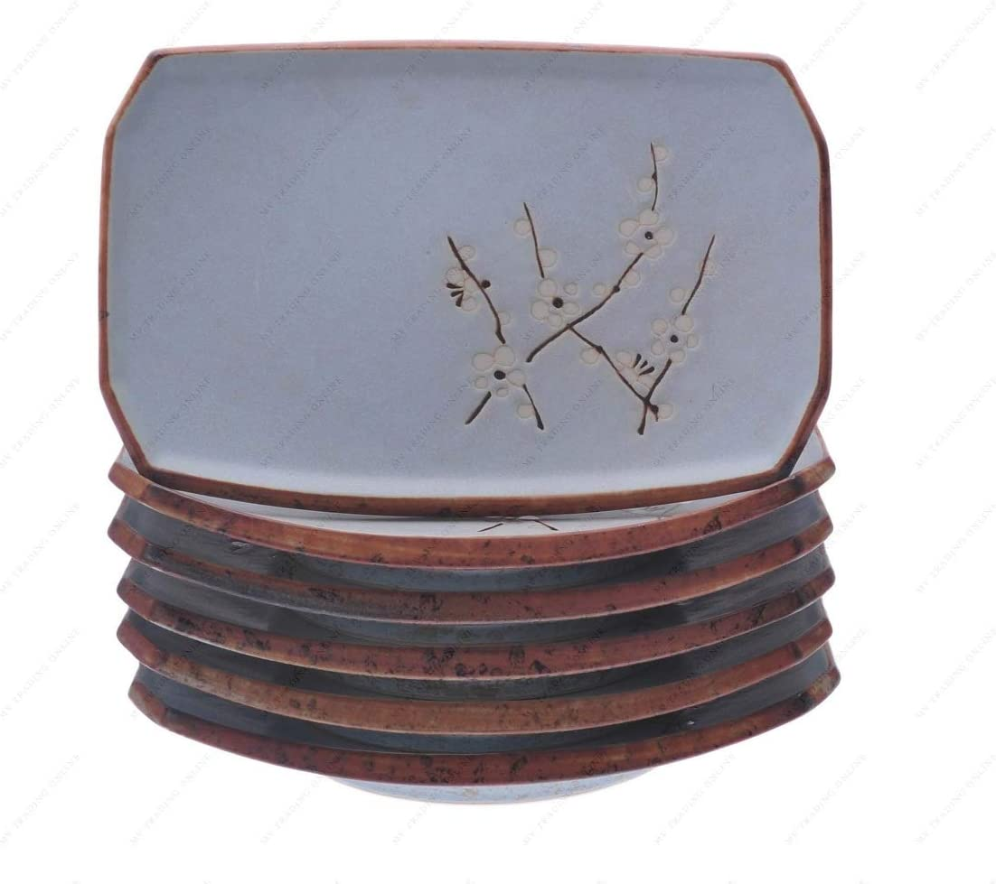 Japanese Light Green Cherry Blossom Sakura Retangle Sushi Plates Set, 8.50 Inches (L) x 5.50 Inches (W) X 0.75 (H), Sold as 6 Plates
