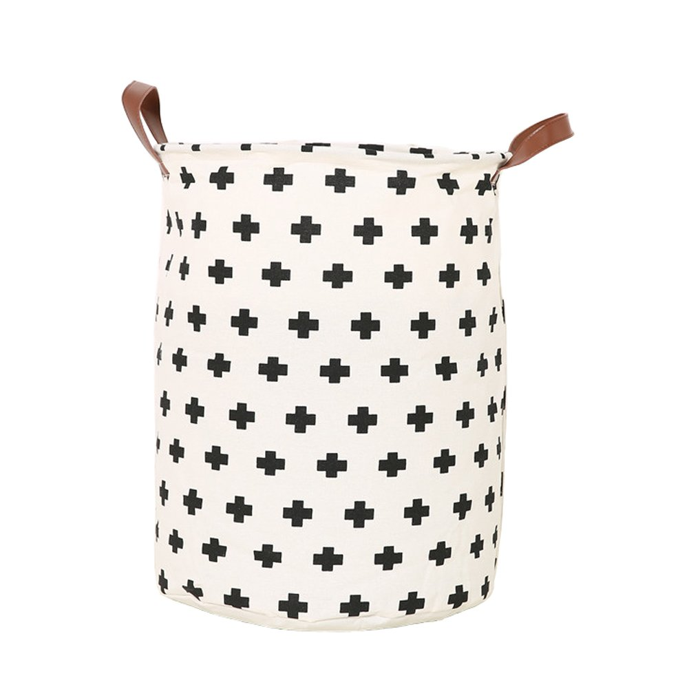 Collapsible Canvas Laundry Hamper PP Coating Cylindric Dirty Clothes Laundry Basket Toy Organizer Storage Bin by YAHUIPEIUS (4)