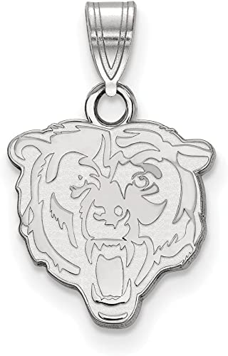 Sterling Silver Rhodium Plated Chicago Bears Large Pendant w//Necklace Length Sterling Silver 18 in