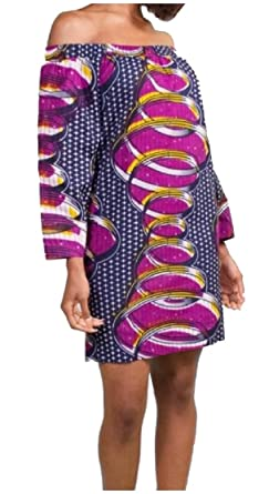 d7f27b052f79 DressU Women s Dashiki Fashion Comfy Floral Printed Off-Shoulder African  Baggy Trible Long Sleeve Mid Dress at Amazon Women s Clothing store