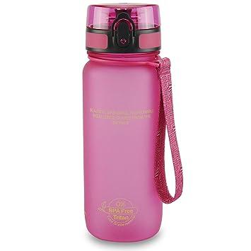 SMARDY Tritan Botella de Agua para Beber Rosa - 650ml - de plástico sin BPA -