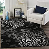 Cheap Safavieh Adirondack Collection ADR114A Black and Silver Contemporary Chic Damask Area Rug (5'1″ x 7'6″)