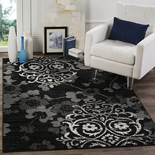 Safavieh Adirondack Collection ADR114A Black and Silver Contemporary Chic Damask Square Area Rug (4' Square)
