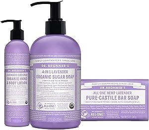 Dr. Bronner's 3-Piece Organic Lavender Gift Set - 1 Sugar Pump Soap 12-Ounces, 1 Body Lotion, 1 Castile Bar Soap