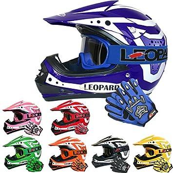 Leopard LEO-X17 Casco de Motocross para Niños & Guantes y Gafas de Motocross para