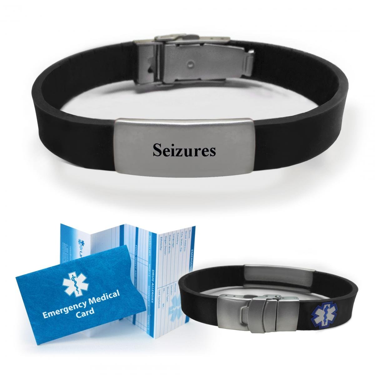 """SEIZURES"" Sport/Slim Medical Alert ID Bracelet for"