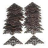 RDEXP 5.5x5.5cm Iron Metal Ornate Decorative Corner Shelf Brackets Right Angle Parts Pack of 40 Bronze