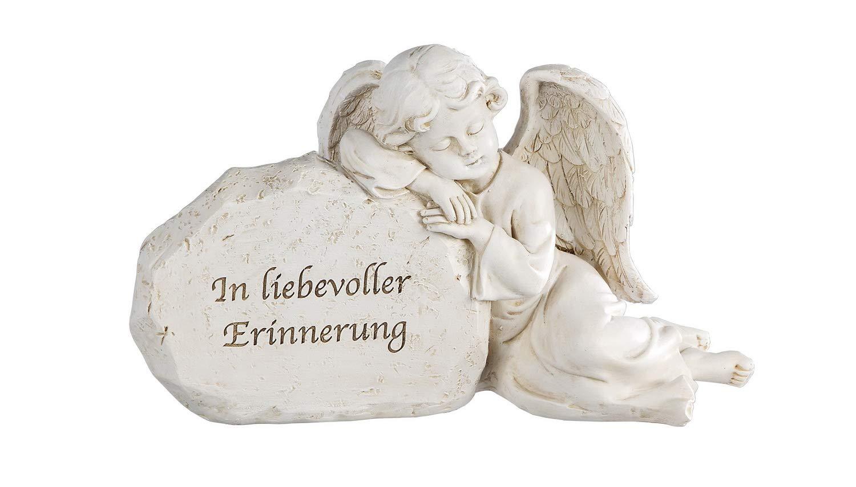 Grabschmuck Engel Putte Büste Kreuz Gedenkstein Grab Stein Deko Figur Skulptur