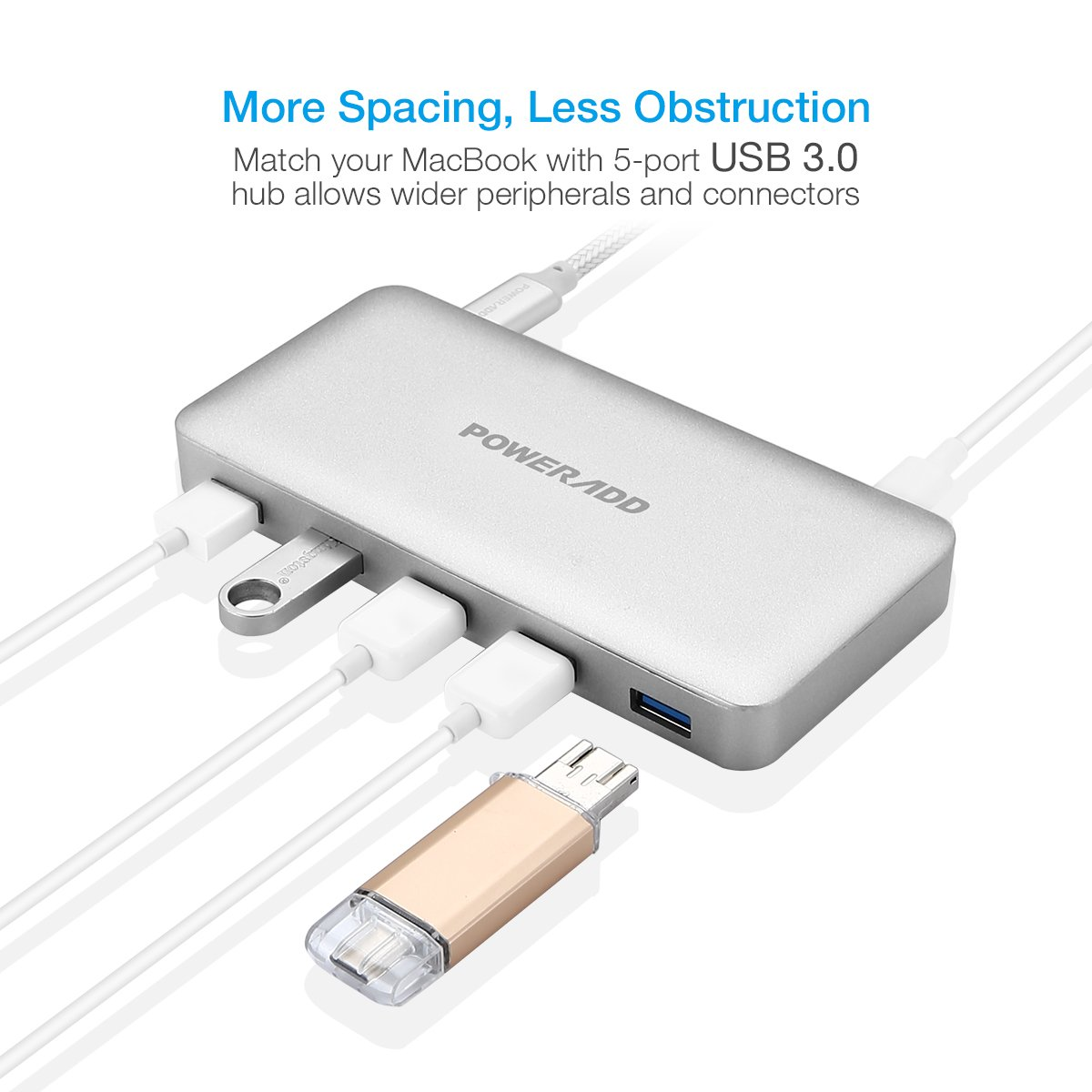 USB C Hub, Poweradd Ultra Slim Type C Hub 5-Port USB 3.0 and PD 2.0 Data Hub (5Gbps Transfer Speed, Anodized Alloy, Compact and Lightweight) for Mac, PC, USB Flash Drives and Other Devices - Silver