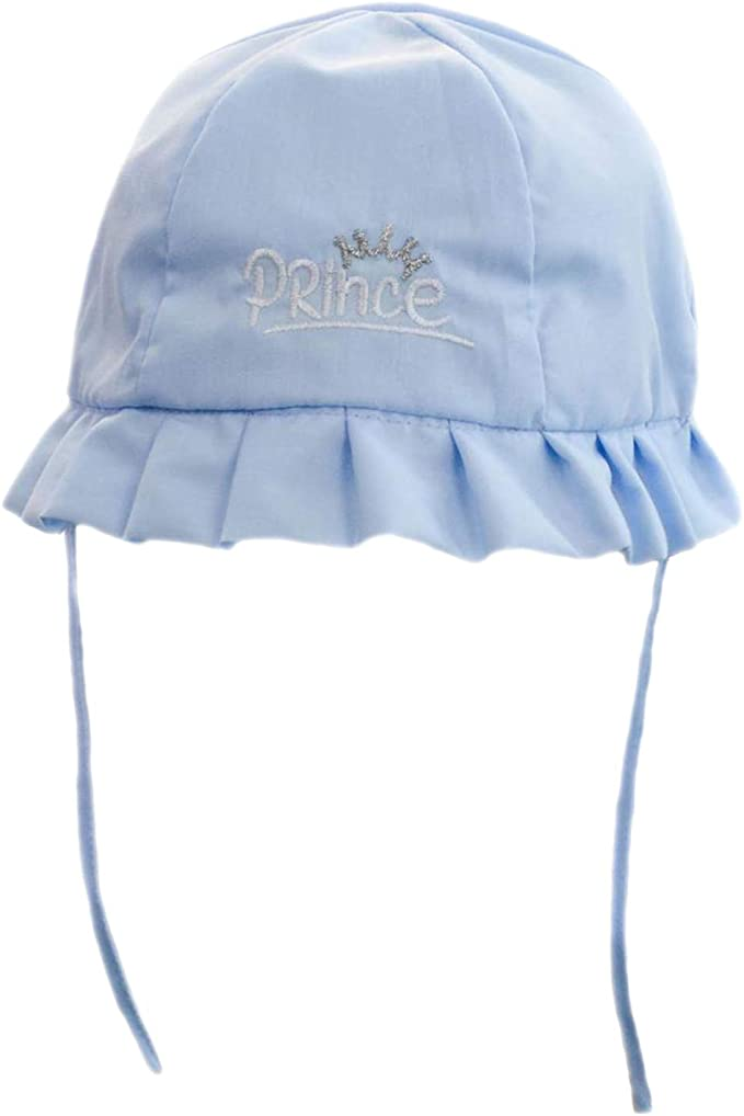 Baby Girls 100/% Cotton Broiderie Anglais Summer Hat Bow Frill Pink White 0-6M